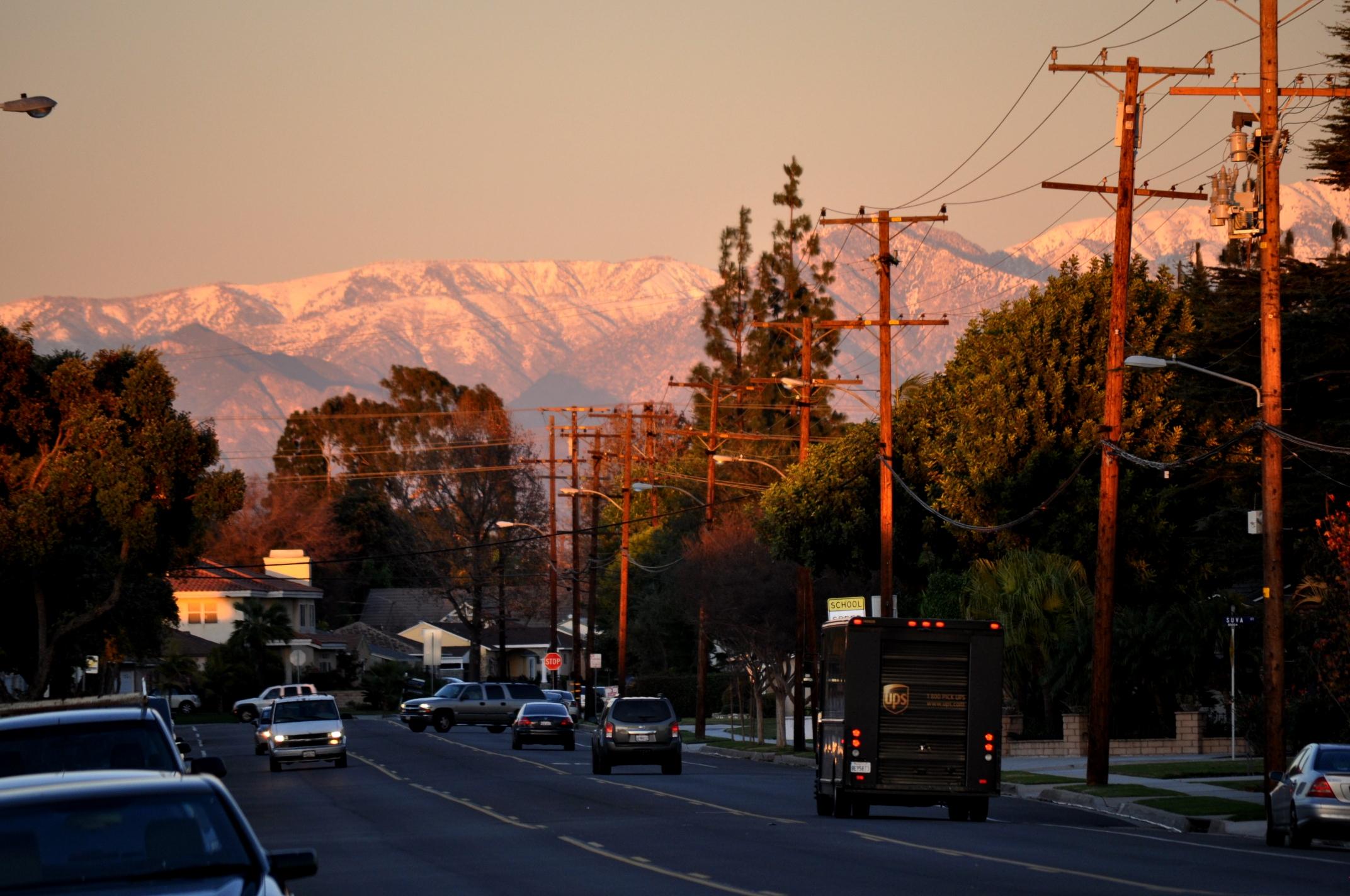 San Gabriel Mountains >> Warm Sunset overlooking San Gabriel Mountains from Brookshire Avenue-Downey, California | euzicasa