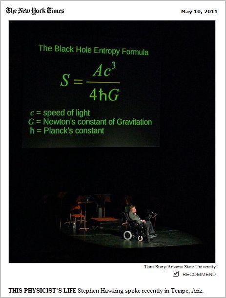 Stephen Hawking's Black Hole Equation (page 2) - Pics ...