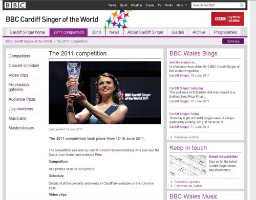 BBC Cardiff Singer of the World 2011-Valentina Nafornita from Moldova