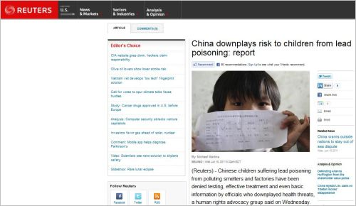 China downplays risk to children from lead poisoning_report Reuters