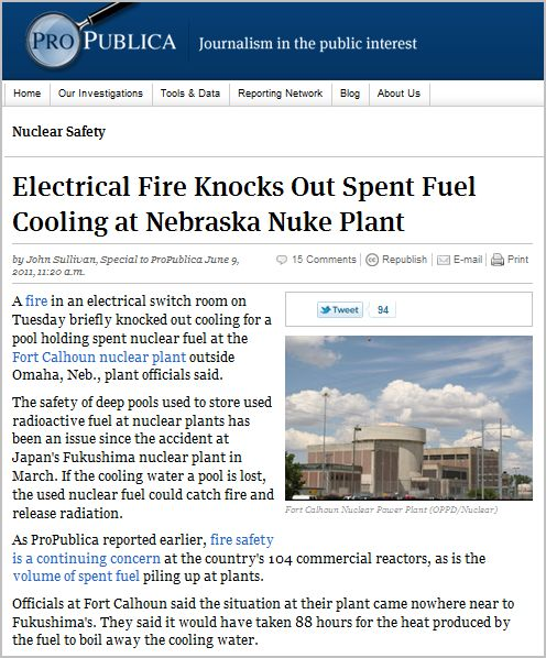 Electrical Fire Knocks Out Spent Fuel Cooling at Nebraska Nuke Plant_Via ProPublica_June-9-2011