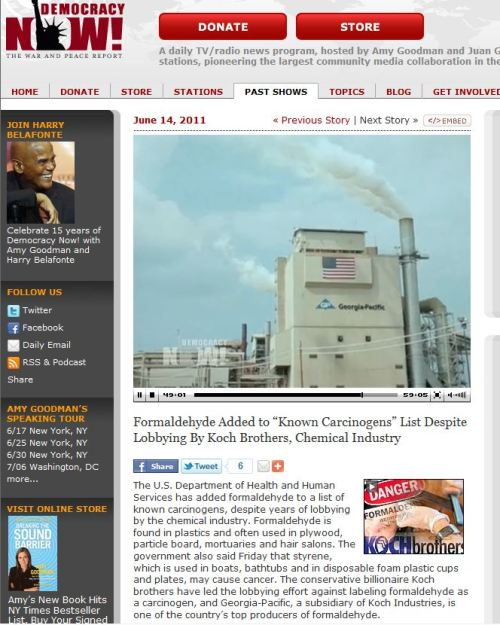 Formaldehyde is a known human carcinogens_ via Democracy Now
