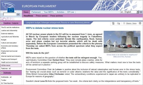 MEPs to debate nuclear stress tests European Parlament