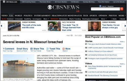 Nuclear Power Plant Surrounded By Flood water_ Several levees in N. Missouri breached_June 19 2011
