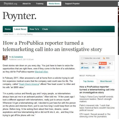ProPublica Investivative Reporting - Health Care or Pocketted Cash
