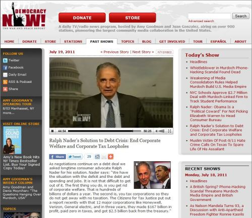 Democracy Now_ Ralph Nader Solution to Debt Crisis End Corporate Welfare and Corporate Tax Loopholes