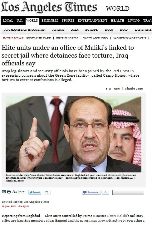 Elite units under an office of Maliki linked to secret jail where detainees face torture Iraq officials say