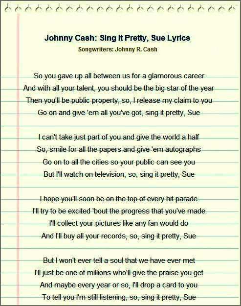 Johnny Cash - Sing It Pretty, Sue Lyrics