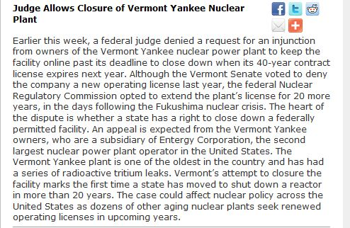 Judge Allows Closure of Vermont Yankee Nuclear Plant