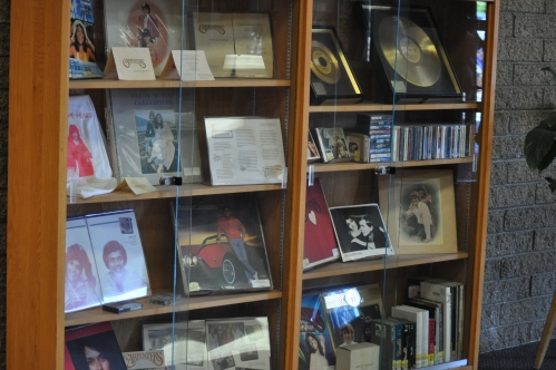 Bookcase with memorabilia-presentd by The Carpenters to Downey City LIbrary