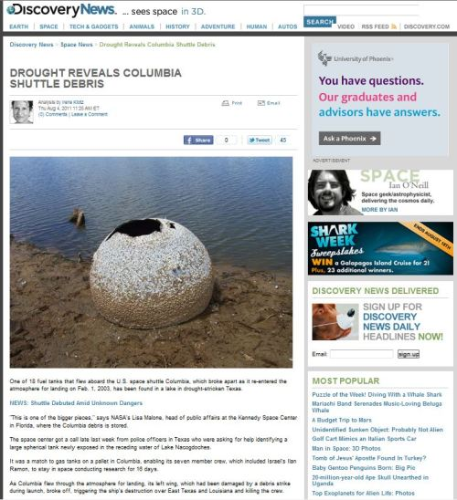 Drought Reveals Columbia Shuttle Debris_via Descovery News