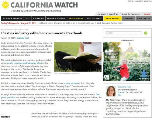 Environment Spotlight _ Plastics Industry Edited Environmental Textbook _California Watch