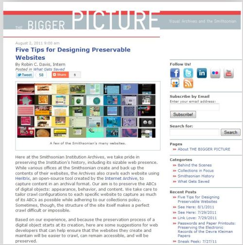 Five Tips for Designing Preservable Websites-via The Smithsonian