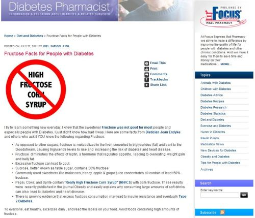 Fructose Facts for People with Diabetes