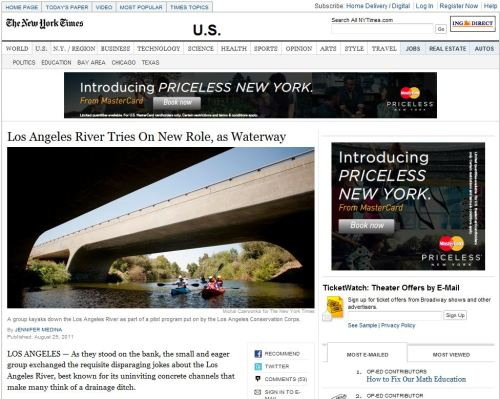 Los Angeles River Tries On New Role, as Waterway _ The New York Times