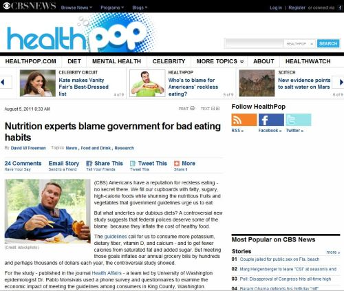 Nutrition experts blame government for bad eating habits_via CBSNEWS