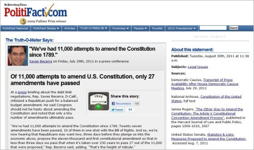 PolitiFact - Of 11000 attempts to amend U.S. Constitution only 27 amendments have passed