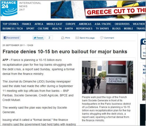 France denies 10-15 bn euro bailout for major banks