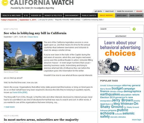 From California Watch_See who is lobbying any bill in California