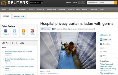 Hospital privacy curtains laden with germs_ Via Reuter