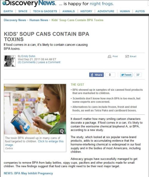 Kids - Soup Cans Contain BPA Toxins