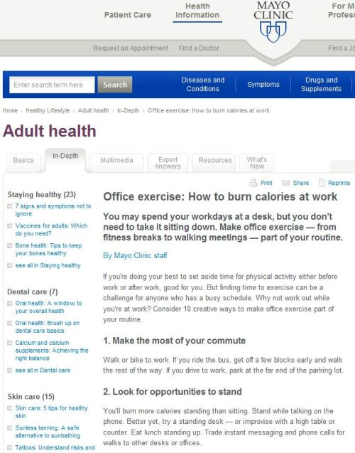 MAYO CLINIC_Office exercise - How to burn calories at work