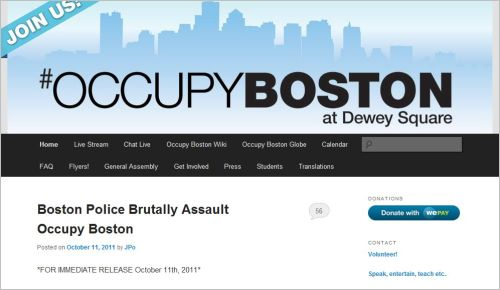 Boston Police Brutally Assault Occupy Boston