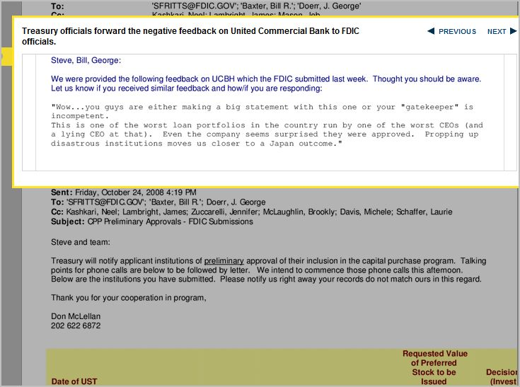 E-Mail to FDIC warning of the Failed Commercial Bank