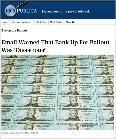 Email Warned That Bank Up For Bailout Was 'Disastrous'