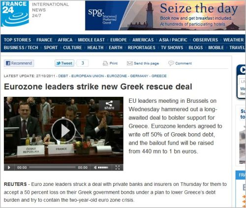 Eurozone leaders strike new Greek rescue deal October 26 2011