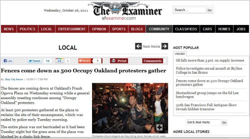 Fences come down as 500 Occupy Oakland Protesters Gather