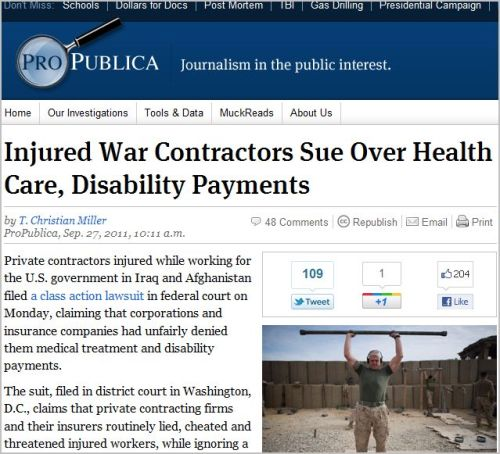 Injured War Contractors Sue Over Health Care Disability Payments