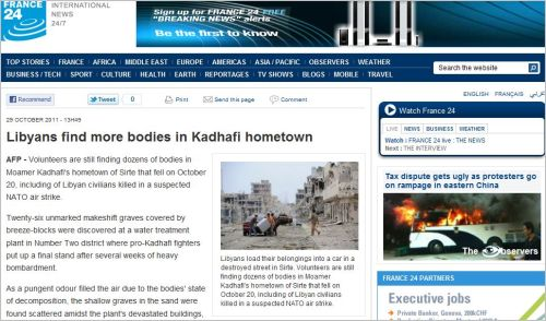 Libyans find more bodies in Kadhafi hometown (from France24 International)