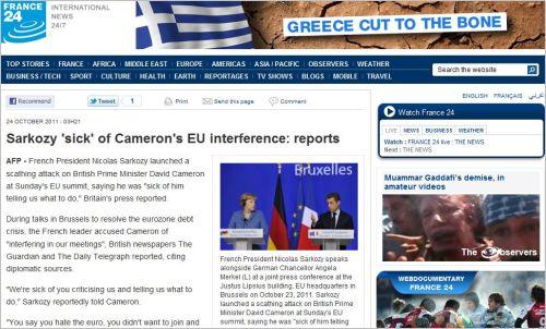 Sarkozy 'sick' of Cameron's EU interference_reports