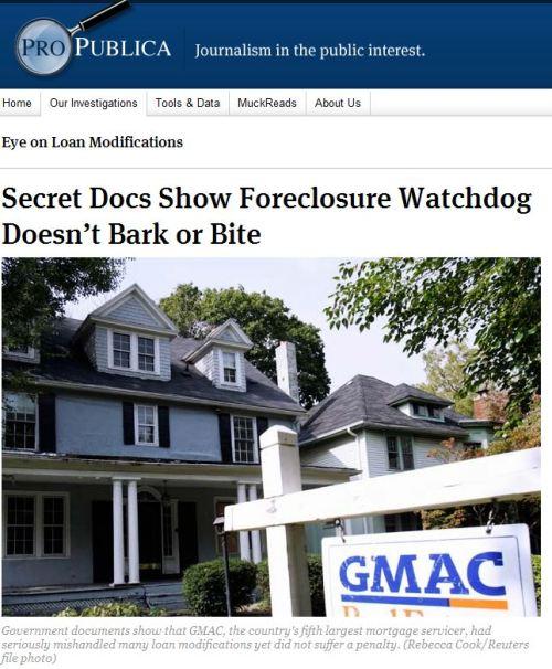 Secret Docs Show Foreclosure Watchdog Doesn't Bark or Bite