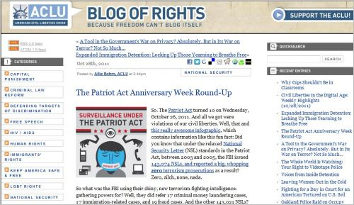 The Patriot Act Anniversary Week Round-Up (from ACLU - October 28 2011)