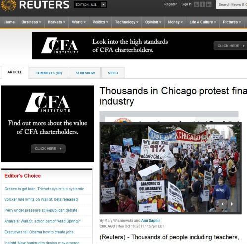 Thousands in Chicago protest financial industry