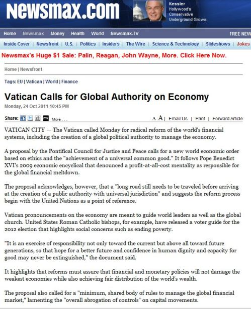 Vatican Calls for Global Authority on Economy