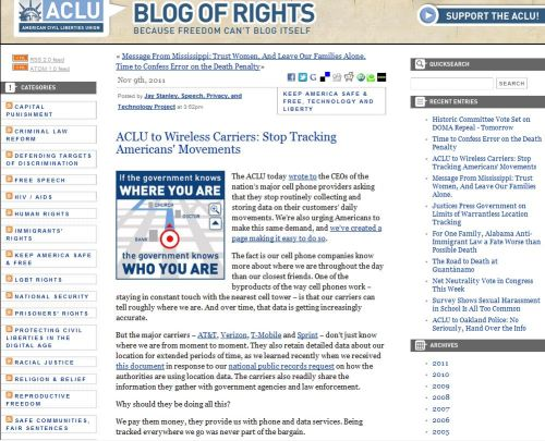 ACLU to Wireless Carriers: Stop Tracking Americans' Movements