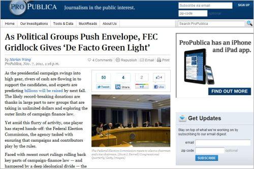 As Political Groups Push Envelope, FEC Gridlock Gives 'De Facto Green Light'_from ProPublica