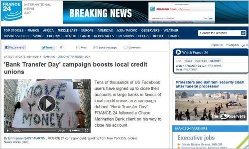 'Bank Transfer Day' campaign boosts local credit unions (From France24 international)