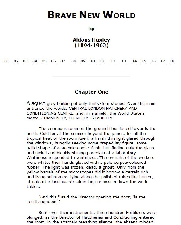 Brave New World, by Aldous Huxley (read it online)