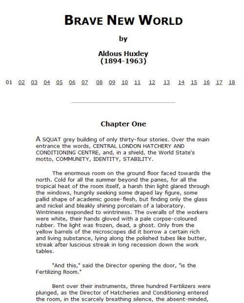 Brave New World, by Aldous Huxley (1894-1963)