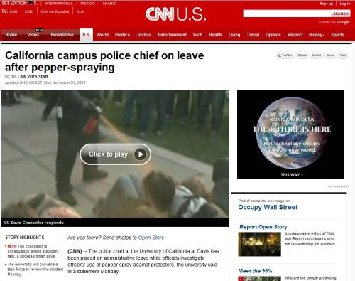 California campus police chief on leave after pepper-spraying (from CNN)