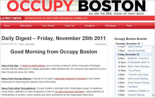 Daily Digest – Friday, November 25th 2011 Good MOrning from Occupy Boston