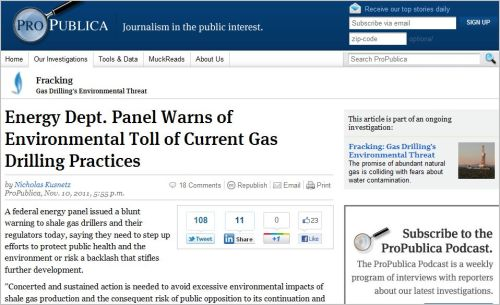 Energy Dept. Panel Warns of Environmental Toll of Current Gas Drilling Practices (from ProPublica)