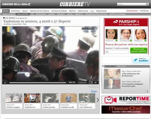 Esplosione in miniera, 4 morti e 57 dispersi (Il Corriere dela serra)