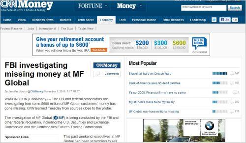 FBI investigating missing money at MF Global