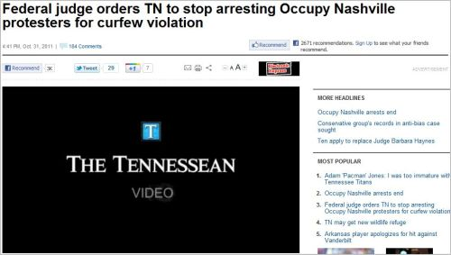 Federal judge orders TN to stop arresting Occupy Nashville protesters for curfew violation