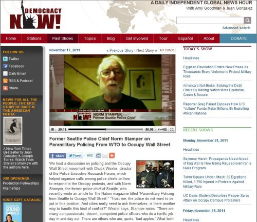 Former Seattle Police Chief Norm Stamper on Paramilitary Policing From WTO to Occupy Wall Street